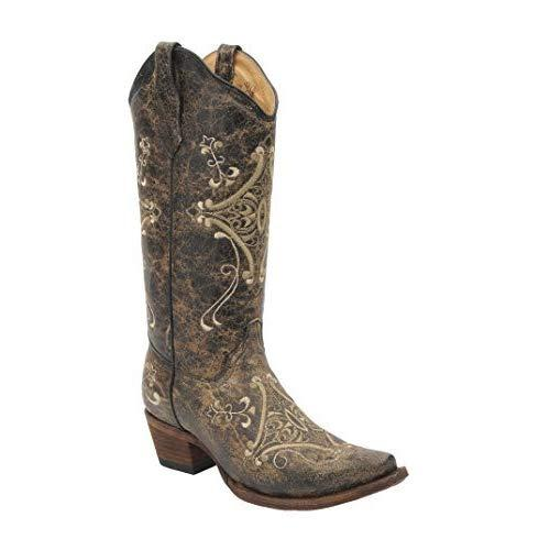 0a9c1ef7c14 Details about Corral Boots Womens Circle G Crackle Scroll Bone Embroidered  Western 8 M US